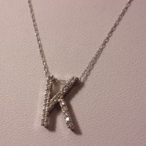 10K White Gold Diamond K Initial Letter Necklace